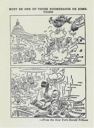 This picture displays Joseph Grundy under fire from leftwing and southern critics during the 1929 Senate Hearings. He is forced out of his position as a lobbyist and bounces back into a senate position.