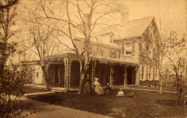 Exterior, Lucretia Mott is in the chair in the foreground.