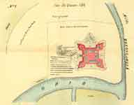 This diagram of Fort Duquesne shows its strategic location at the convergence of two rivers. This area is now Pittsburgh.
