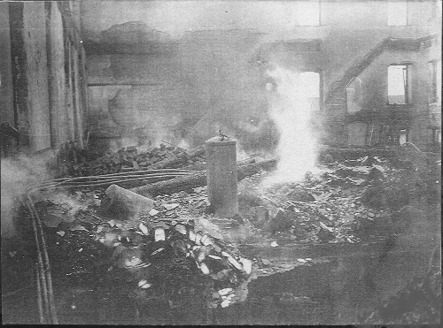 Interior ruins of the Boyertown Opera House, January 13, 1908.