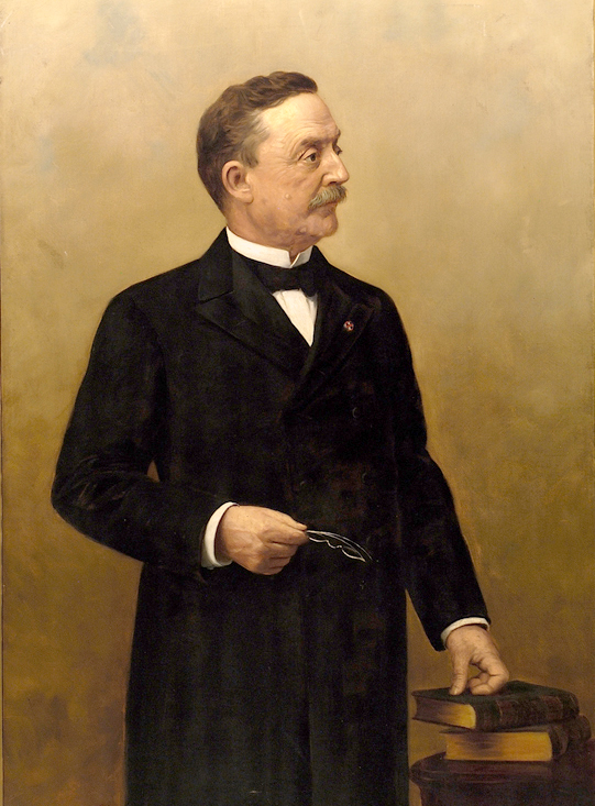Oil on canvas of Quay, standing, facing right, wearing a suit.