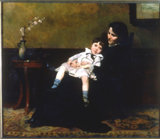 Oil on canvas of Ernesta Beaux Drinker, the artist's sister, with a young child, Henry Sandwith Drinker sitting in her lap