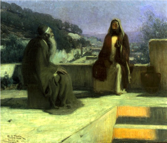 An old man, with a long white beard, and a younger man sit conversing on blocks of stone.