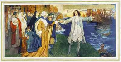 Mural painting of William Penn with outstretched arms, one toward people on land and the other toward the ships not far from shore. Small jetties bring settlers from the main ships to the shore.