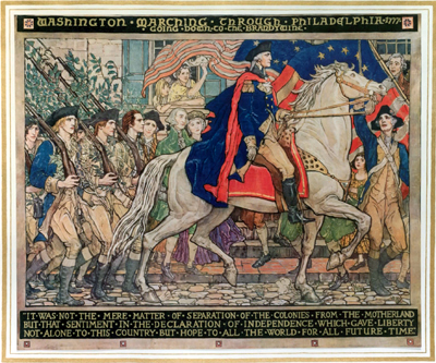 Mural painting of Washington on horseback riding through Philadelphia. His men carry rifles on their shoulders while marching behind him.