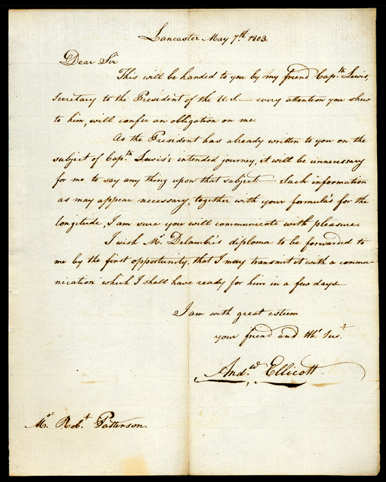 Andrew Ellicott, Letter introducing Meriwether Lewis to Robert Patterson, May 7, 1803