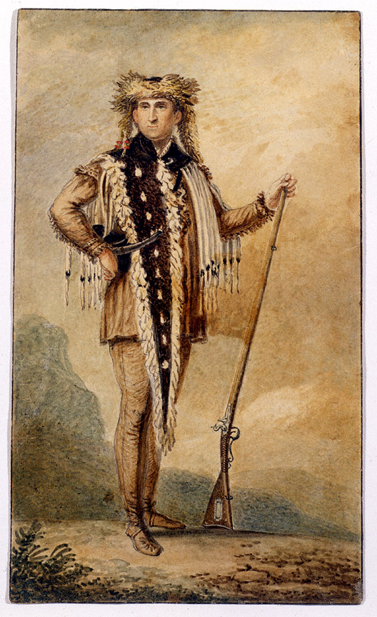 A full length water Watercolor of Lewis in expedition garb, by Charles BJF Saint Memin