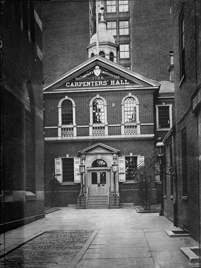 Black and white image of Carpenters Hall