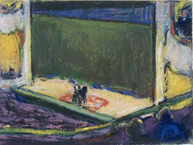 Patrons sit in the side box of the opera in this colorful pastel on board.