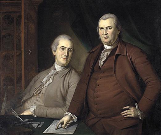 Portrait of Gouverneur Morris and Robert Morris in formal attire.