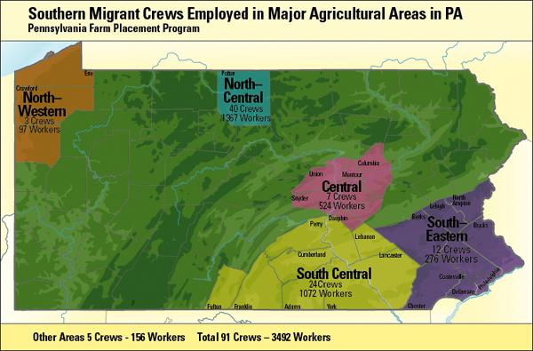 Map of Migrant Crews in Pennsylvania