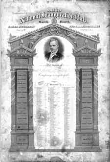An ornate invitation to Buchanan's inaugural ball, 1857. Although an experienced politician, Buchanan's presidency was marked by his inability to adequately address the increasing sectional controversies over slavery.