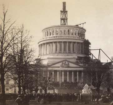 A view of Lincoln's first presidential inauguration and the US Capitol building, still under construction in 1861. Prior to the event, Lincoln traveled on an Inaugural Train, stopping in key cities including Harrisburg and Philadelphia.