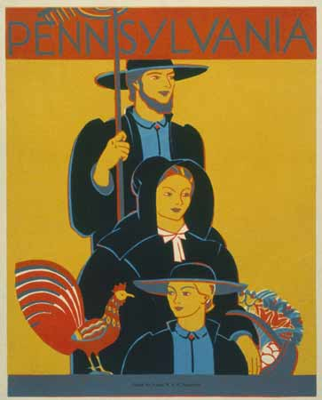 This WPA poster depicts an Amish family and encourages tourism in the Central Pennsylvania region. Pennsylvania welcomed religious dissenters during the colonial period, and the Amish in particular have become an important and enduring part of Pennsylvania's identity.