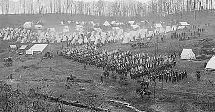 The 96th Pennsylvania conducting drills during the Civil War, c. 1861. The 96th Pennsylvania Volunteer Infantry was composed of over 1100 volunteers from Schuylkill, Berks, and Dauphin County who answered Lincoln's call for troops after the attack on Fort Sumter.