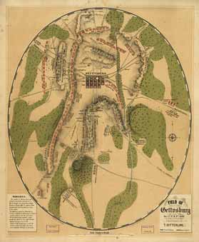 A map of the battle at Gettysburg published in 1863, showing positions of the Confederate (in red) and Union (in blue) troops. Gettysburg was the bloodiest battle in the Civil War, with over 51,000 troops killed, wounded, or captured.
