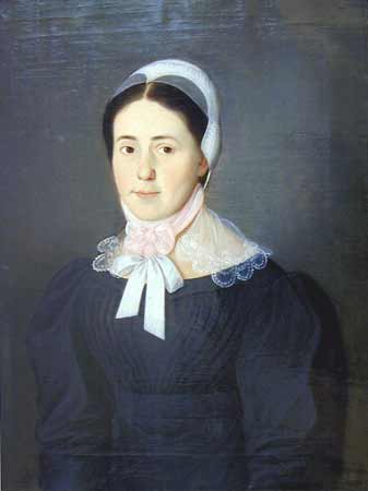 "An early 19th century painting of a Moravian ""Single Sister."" Single women would be pictured wearing pink bows; married Sisters were pictured with blue bows."