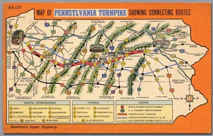 Colorful maps of the Pennsylvania Turnpike showed motorists the connecting routes.