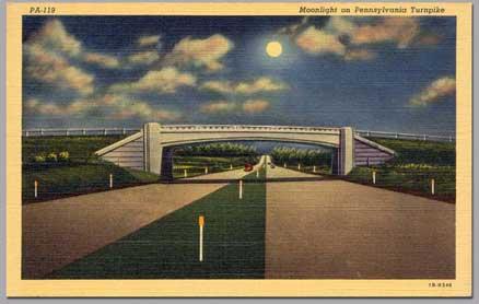 Moonlight on the Pennsylvania Turnpike.