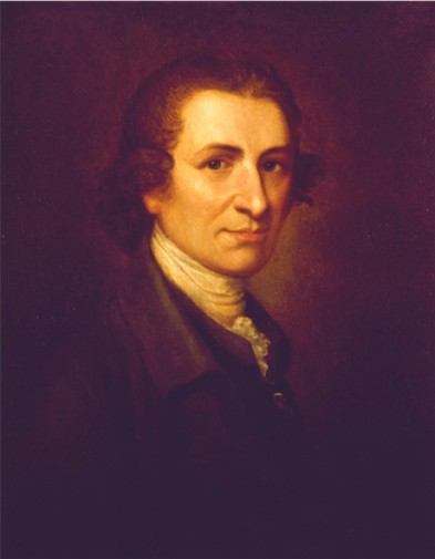 Oil on canvas portrait of Thomas Paine wearing a brown jacket and a white shirt with an ascot styled collar