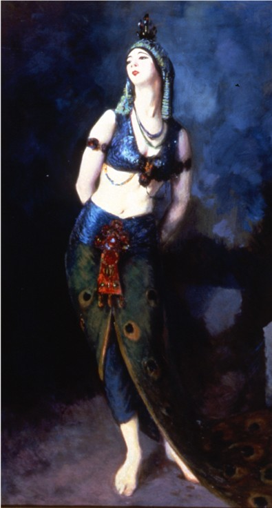 Oil on canvas of Ruth St. Denis in a three piece costume, resembling the colors of a peacock.