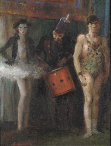 Oil on canvas board of a circus scene, consisting of a Strong Man, Clown with drum, and a female Dancer.
