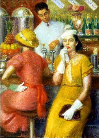 Two ladies sit at the soda fountain booth, while a man in a clean, crisp, uniform stands behind the counter.