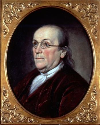 Oil on canvas portrait of Benjamin Franklin