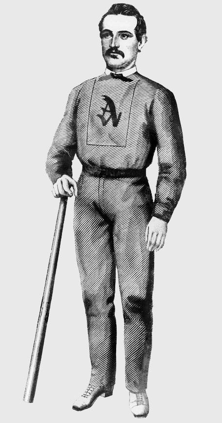 A woodcut portrait of Al Reach in uniform holding a bat.