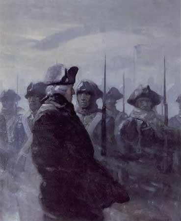 "This painting, titled ""Washington at Valley Forge"" is the work of Pennsylvania artist N.C. Wyeth. This painting is in the collection of the Hill School in Pottstown, PA."