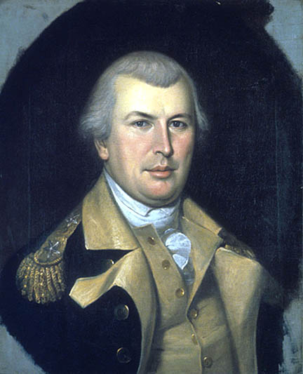 Etching of Nathanael Greene standing in Military attire in front of his horse