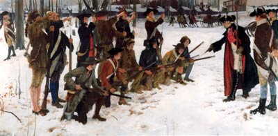 Baron von Steuben pointing at soldiers and instructing them at the snow covered camp.