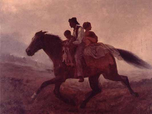This painting A Ride for Liberty - The Fugitive Slaves by Eastman Johnson, was created in 1862. It depicts an African-American family escaping to freedom on horseback, the mother looking over her shoulder towards pursuers.