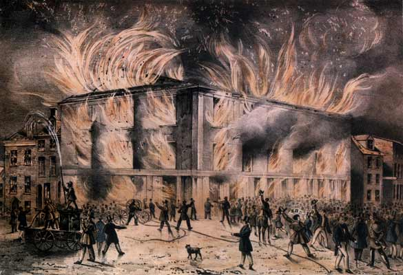 Pennsylvania Hall, burning after a mob attack.