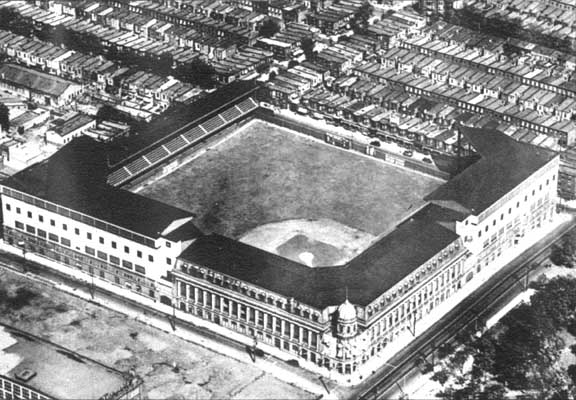 An aerial view of Shibe Park circa 1930.