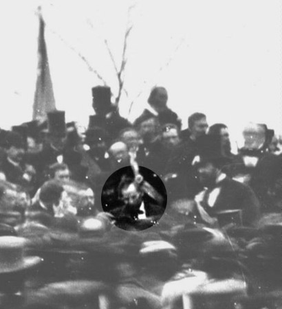 No photograph is known to exist of Lincoln making his speech, but this photo reveals Lincoln seated in the crowd on the speaker's platform, probably just before making his speech.