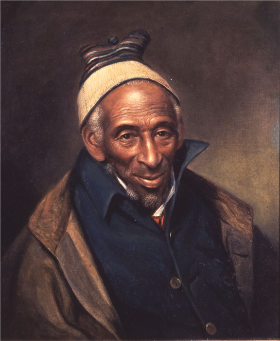 Oil on canvas of a 134 year old man, wearing layered clothing and a stocking hat.