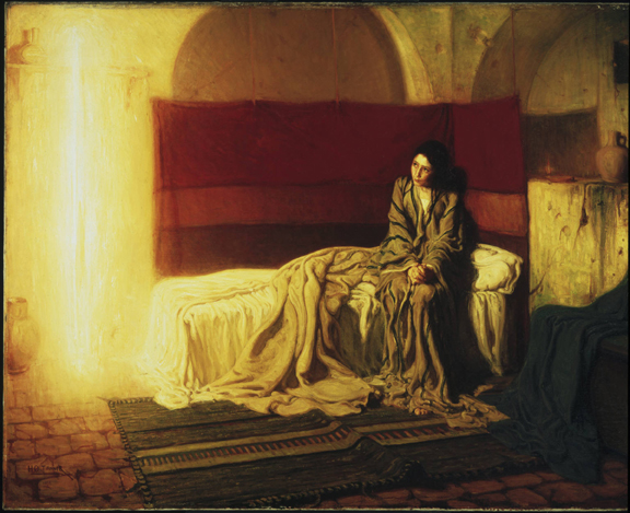 Oil on canvas of a frightened young girl sits on the edge of her bed, as she receives a visit from an angel messenger. The angel in this painting is depicted as a long stream of golden light.