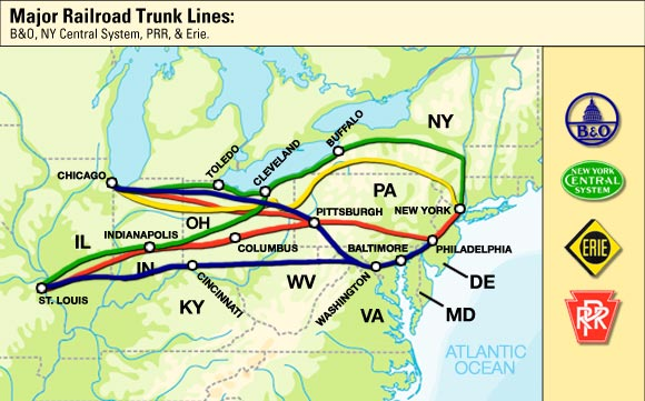Map of Trunk Lines  U.s. Industrial Revolution Map
