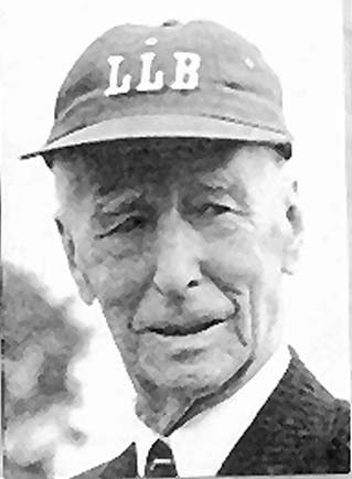Black and white baseball card of Connie Mack sporting a Little League cap.