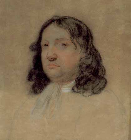 A portrait sketch of William Penn.