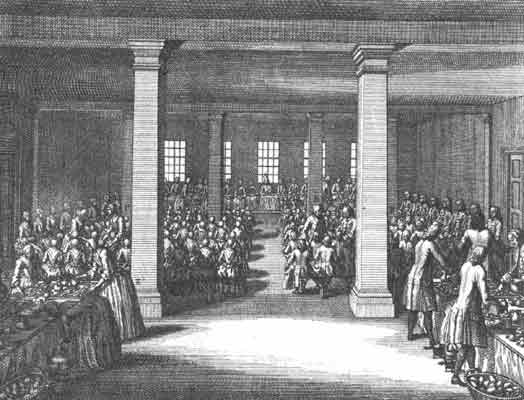 Girls and women gathered on one side of the vast room, and men and boys on the other.