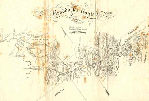 This map of Braddock's route shows some of their camps and river crossings. It also suggests the arduous nature of their journey through the rugged terrain.