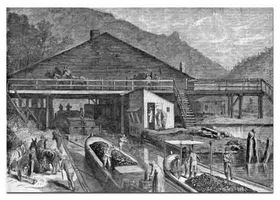 Canal boats, full of coal, pass through the Lehigh Canal lock in this undated etching.