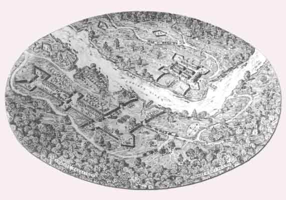 A diagram of the Juniata Crossing, created by Charles Stotz, shows the extensive effort that was put into clearing the area and building the stockade and fort.