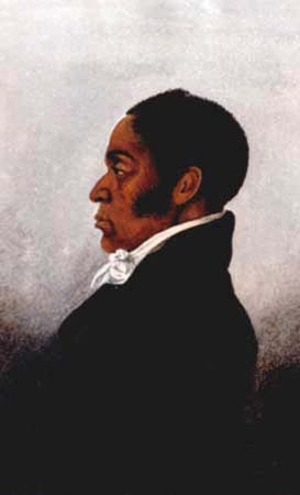 Oil on canvas of a profile of James Forten.