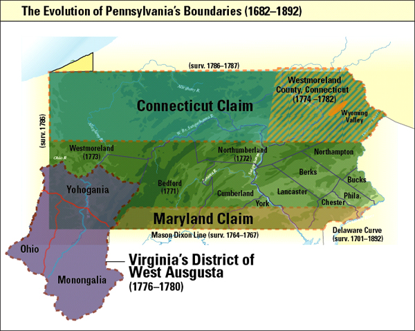 Map of Pennsylvania's disputed borders