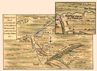 """A detail from this antique map shows the location of Fort Prince George, then known as """"Trent's Fort."""" The map marks the location as """"...Trent drove out by French 1754."""" The French burned the existing, unfinished structure, and built Fort Duquesne in its place."""