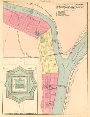 This 1878 map shows the positions of Fort Venango, Fort Machault and Fort Franklin at the confluence of French Creek and the Allegheny River, at what is now the city of Franklin, Pennsylvania. Fort Venango's design is detailed in the diagram on the left.