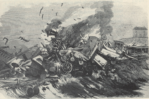1856 Crash from Leslies Illustrated Weekly depicting the collision of passenger and excursion trains near Camp Hill Station, July 17, 1856.